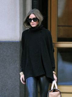 Black cape + leather pants.