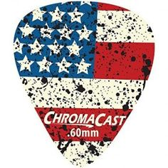 ChromaCast, USA Flag Delrin Guitar Picks, (.60mm), Light Dura Pick 10-pack  ChromaCast Delrin Dura Picks feature the classic, standard guitar pick shape with a comfortably wide body and a rounded tip that prevents chipping and provides a warm, fat #musical tone. Offered in a variety of gauges that all feature a matte, non-slip finish and impressive durability. Pack Includes: Light(.60mm) Gauge Picks.  Features:Classic #guitar pick shape with a wide body and rounded tip to prevent chipping...