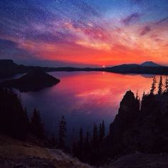On a scale of 1 to amazing, this star-laced sunrise is off the charts. @brandonexplores captured this view when he hiked 2,668 miles from Mexico to Canada. Here's to the start of a great weekend – filled with bright new mornings and many magical moments. #travelbucketlist #sunrise #wanderlust #explore #Oregon #CraterLake