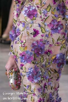 Botanical Embroidery with 3D Appliques - Georges Hobeika Fall 2016 Haute Couture…