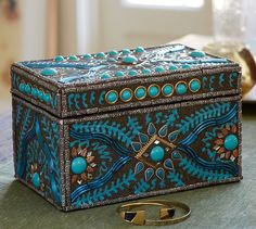 "Turquoise Jewel Box | Pottery Barn | 9""w x 5.5""d x 5.5""h 
