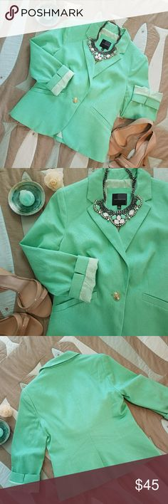 Mint Green blazer by The Limited Stunning trendy mint green blazer with gold button by The Limited. Pre owned yet like new condition. Cotton, spandex and polyester. Size small, please see photo for measurements. The Limited Jackets & Coats Blazers