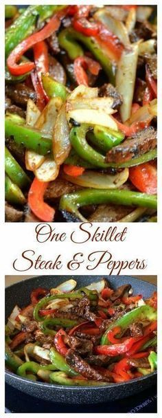 This beautiful One Skillet Steak and Peppers has so much flavor. It is packed full of juicy steak, tender crisp onions and bell peppers in a lightly sweet Hoisin ginger mustard sauce that is amazing. dinner steak One Skillet Pepper Steak Meat Recipes, Asian Recipes, Mexican Food Recipes, Dinner Recipes, Cooking Recipes, Healthy Recipes, Paleo Dinner, Recipies, One Pot Meals