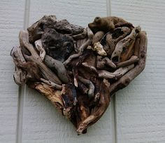 Fifth Anniversary Heart Driftwood Art Hand by BurlgirlCreations