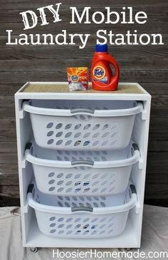 DIY Mobile Laundry Station :: Instructions on HoosierHomemade.com