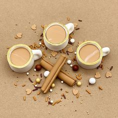 Custom chai latte fondant cake set I created for Party Desserts, Edible Art, Macaroons, Chai, Sprinkles, Fondant, Latte, Cinnamon, Cake Decorating