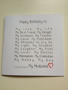 Romantic Handmade Birthday Cards For Husband