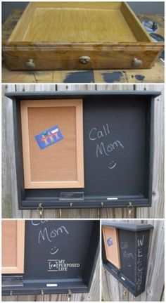 Upcycled Furniture Projects - Desk Drawer Repurposed Into Chalkboard - Repurposed Home Decor and Furniture You Can Make On a Budget. Easy Vintage and Rustic Looks for Bedroom, Bath, Kitchen and Living Room. http://diyjoy.com/upcycled-furniture-projects #repurposedfurnituredesk #repurposedfurniturebedroom #vintagekitchen #repurposedfurnitureupcycling