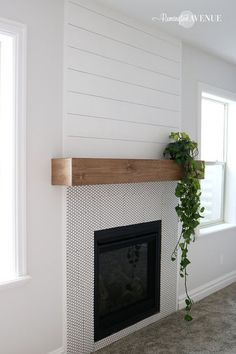 The easiest DIY wood mantel ever! I'm not a pro but this mantel looks so good! Come join me for a fun tutorial and inexpensive project! The post The easiest DIY wood mantel ever! I'm not a pro but this mantel looks so go appeared first on Decoration. Fireplace Remodel, House Design, Diy Fireplace Mantel, Home Fireplace, Wood Fireplace, Home Remodeling, New Homes, Home Decor, Fireplace