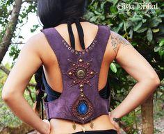 PURPLE VEST leather pixie gypsy by SigaTribal on Etsy