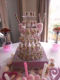 Pink Sweet Table, six tier with sweet shots Sweet Bar, Shots, Cake, Desserts, Pink, Food, Tailgate Desserts, Deserts, Kuchen