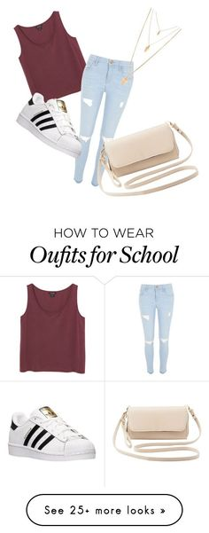 """Casual school day"" by rzogg on Polyvore featuring Monki, River Island, adidas…"