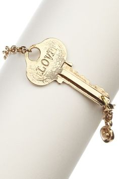 """14K gold plated hand-stamped """"LOVE"""" and """"YOURSELF"""" on reverse side key charm bracelet   - Lobster clasp   - Approx. 8"""" length  - Approx. 2"""" L x 1"""" W charm"""