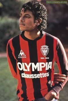 Michael Jackson in 1983 wearing an OGC Nice kit.