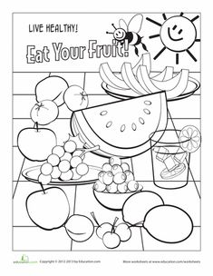 Kindergarten Coloring Life Learning Worksheets: Food Coloring Page: Fruit Fruit Coloring Pages, Coloring Pages For Kids, Coloring Sheets, Adult Coloring, Coloring Worksheets For Kindergarten, Worksheets For Kids, Vowel Worksheets, Kindergarten Learning, Teaching