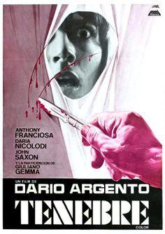 """Tenebre"" Spanish Movie Poster by Jano (Dario Argento / Horror Movie Posters, Cinema Posters, Movie Poster Art, Film Horror, Dario Argento, Image Film, Classic Horror Movies, Vintage Horror, Film Books"