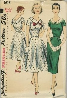 An original ca. 1956 Simplicity Pattern 1615.  MISSES' AND WOMEN'S ONE-PIECE DRESS WITH TWO SKIRTS AND DETACHABLE COLLAR: A two-silhouette fashion, the dress may have either a smartly slim or graceful flared skirt. The wide V neckline is dramatized with a self fabric collar in view 1; a contrasting detachable collar accented with braid, view 2.