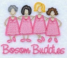 Bosom Buddies - 4x4   Cancer Awareness   Machine Embroidery Designs   SWAKembroidery.com Starbird Stock Designs