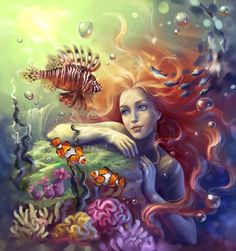 Mermaid by ~sharandula  (the beaty of her eyes is not seen until you enlarge the picture by clicking)