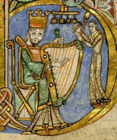 MusicArt ANGERS - BM - ms 0047 - 12th century. Rey David tocando el arpa y músico con campanas.