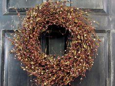 Rustic Wreath - Primitive Wreath - Warm Brown Mix Berry Primitive Wreath - Prim Home Decor - Rustic Cabin - Fall Decor - Front Door Wreath