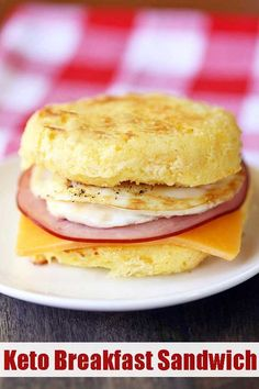 """A delicious, filling low carb and keto breakfast sandwich that really hits the spot when you miss """"the way you used to eat."""" A delicious, filling low carb and keto breakfast sandwich that really hits the spot when you miss """"the way you used to eat. Breakfast Sandwich Recipes, Keto Diet Breakfast, Breakfast Gravy, Breakfast Ideas, Mcdonalds Breakfast, Sandwich Ideas, Breakfast Bars, Breakfast Muffins, Breakfast Burritos"""