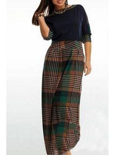 Plus Size Maxi Dress - Black Bodice / Plaid Skirt