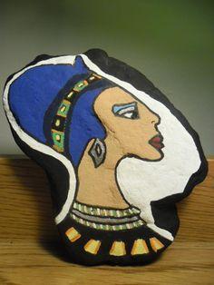 Handpainted Rock Art  Cleopatra