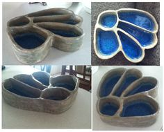 Pottery Slab Projects, soft slab forms with fused glass
