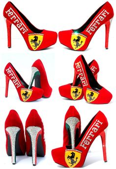 Ferrari Heels, Hand Painted with Swarovski Crystals and the Italian Flag
