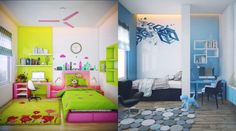 Kids room:Beautiful Kids Room Decor Ideas Kids Room Inspiration Kids Room Rectangle Pink Contemporary Wood Bed With Circle Clock Wall Also Green Smooth Cotton Blanket And Black Modern Swivle Chair Besides Hairy Beauty Wol Carpet Iron