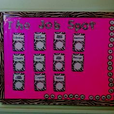 Zebra print classroom! Class jobs
