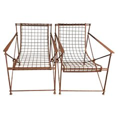 Vintage Iron Garden Chairs Front View
