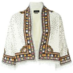 Isabel Marant 'Baikal' cropped jacket (€2.800) found on Polyvore featuring women's fashion, outerwear, jackets, open front jacket, isabel marant jacket, white fringe jacket, white jacket and fringe jacket