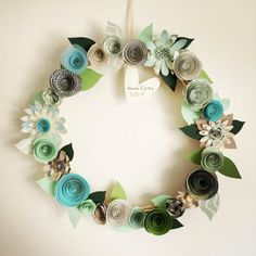 Custom Handmade Paper Flower wreaths home decor by MIPaperPetaler
