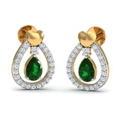4cae8f78590 Earrings for Girl 0.24 Ct Real Certified Diamond Emerald Solid Gold Vacation