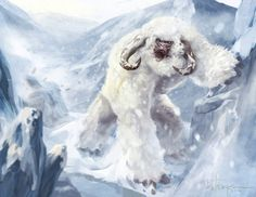 Yeti (Illustration 3), Another illustration of a Yeti. A Yeti or Abominable Snowman is said to be an ape-like cryptid taller than an average human, similar to Bigfoot, that inhabits the Himalayan region of Nepal, and Tibet. The existence of a Yeti has never been proven.