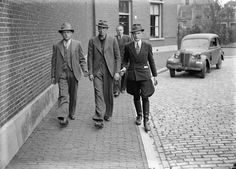 Arrest made after the liberation of the Netherlands, may 1945. Photo Jacques Stevens. The man on the right has an interesting combination of Jodphurs and double breasted jacket.