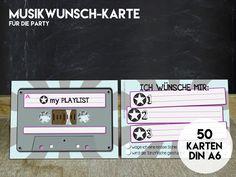 50 MUSIK-WUNSCH KARTEN für Eure Party von KleineFabrik auf DaWanda.com
