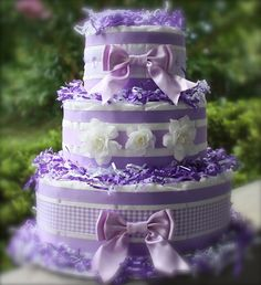Lavendar diaper cake
