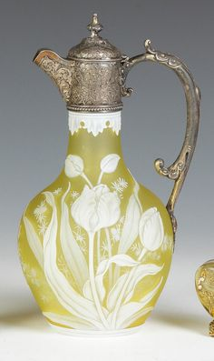 Thomas Webb Cameo Glass Claret Jug In Yellow With Tulip And Geranium Decoration And Silver Mounts