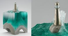 Sculptor Ben Young (previously) just unveiled a collection of new glass sculptures prior to the Sculpture Objects Functional Art + Design (SOFA) Fair in Chicago next month. Young works with laminated clear float glass atop cast concrete bases to create cross-section views of oc