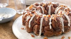 This easy monkey bread uses refrigerated cinnamon roll dough and hickory smoked bacon for an amazing breakfast or brunch treat.