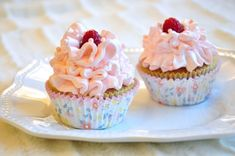 White Chocolate & Raspberry Cupcakes with Raspberry Buttercream