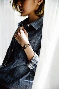 buttoned jeans shirt, minimalist unisex style