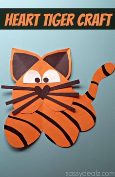 Learn how to make a tiger out of paper hearts! This is a cute craft for kids to make. All you need is paper, glue, scissors, and a black marker to make this