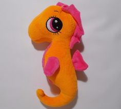 "Big Eye Seahorse Plush Orange Pink NEN Stuffed Animal 12"" Kawaii Cute #NationalEntertainmentNetwork"
