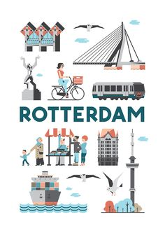 Rotterdam poster en souvenirs More there! Rotterdam Map, Rotterdam Netherlands, Dutch Netherlands, Utrecht, Amsterdam, Buch Design, Cities, City Illustration, Co Working