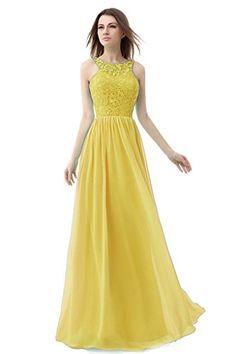 Ikerenwedding Women's Straps Lace Chiffon Bridesmaid Dress Formal Evening Gown Yellow US2 Ikerenwedding http://www.amazon.com/dp/B0143XIQWI/ref=cm_sw_r_pi_dp_AsH-vb0ND304M