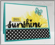 """Stampin' Up! Sunshine Sayings and Sunshine Wishes Thinlets for the Create with Connie and Mary Saturday Blog Hop this week featuring """"Walking on Sunshine"""". #stampinup, Created by Connie Babbert, www.inkspiredtreasures.com"""